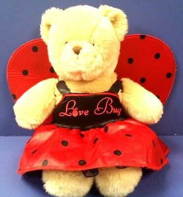 Love Bug Build A Bear  Teddy Bear Red DRESS WINGS Outfit Stuffed Animal