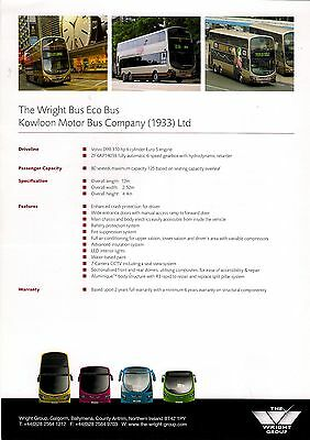 Bus Manufacturers Specification Sheet ~ Wrightbus Eco Bus - KMB Kowloon - c.2010