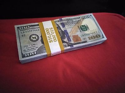 The $10,000 TRUE BLUE AUTHENTIC LOOK, Prop Money  (for movies, videos & pranks