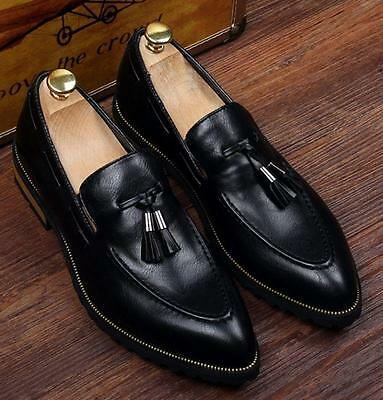 972f131f8d7 Mens slip on pointed toe loafers formal business dress shoes tassels Pu  Leather
