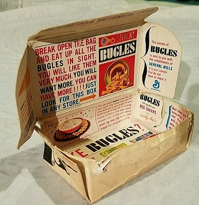 rare BUGLES Sample Box GENERAL MILLS Snack mailaway early 1965 vintage premium