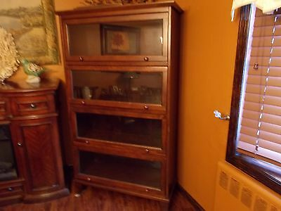 Vintage Mahogany Barrister Book Case Shelf Display 4 Section on Feet - HUGE!