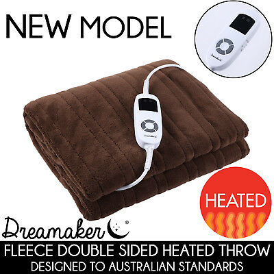 LATTE Coral Fleece Heated Electric Throw Rug Snuggle Blanket 11 Settings Winter