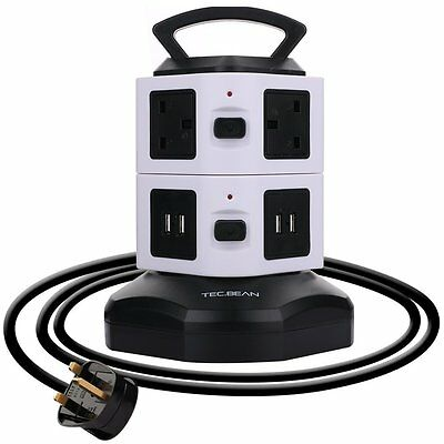 TEC.BEAN 3M 4 USB 6 Way Outlet Extension Lead Surge Protector Vertical Power Str