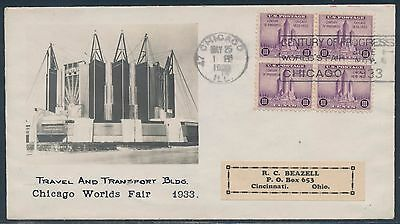 #729 Blk/4 Beazell Fdc Cachet & Century Of Progress World's Fair Cancel Bt8521