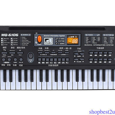 Electronic Music Keyboard Piano 61 Keys Musical Electric Piano w/ Mic Portable