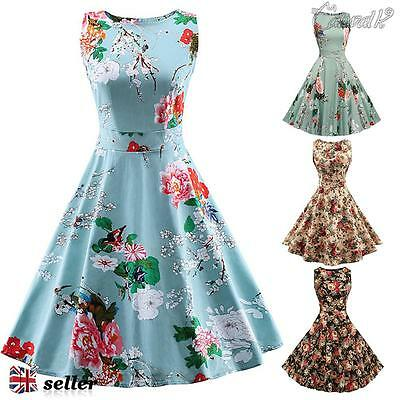 Women's Floral 1950s 60s Vintage Rockabilly Swing Dresses Retro Cocktail Party