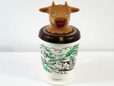 Vintage Whirley Industries Plastic Cow Sip Cup Creamer Fishing Boy Dog Cow Motif