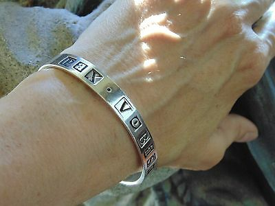"Vintage Rare Vass Ludacer Nyc ""peace Be With You"" Latin Sterling Bangle Bracelet"