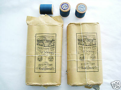 Rare Vintage Antique Lot 24 Wooden Cotton Reels Sewing Thread Orignal Packets