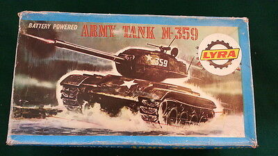 LYRA VINTAGE GREEK 70's - ARMY TANK M-359 - BATTERY OPERATED - N102 - RARE TOY