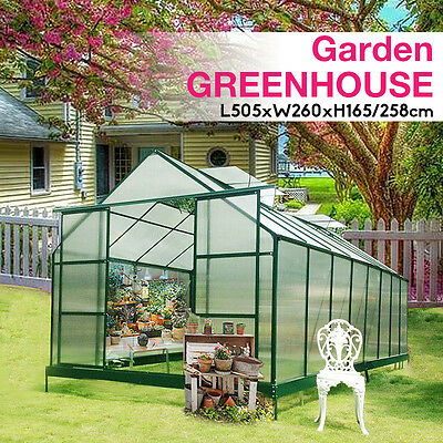 Polycarbonate & Aluminium Walk-in Greenhouse with 6mm panel 2.6M to 7.6M length