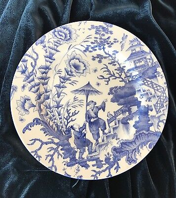 Chinoiserie Design Blue & White Hand Painted Fine Bone China Dinner Plate