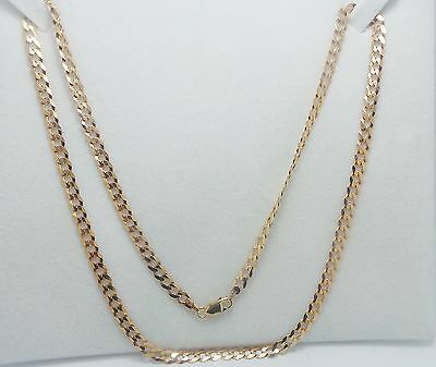 9Ct Yellow Gold Flat Curb Link Chain Necklace - 8.8 Grams 43 Cm