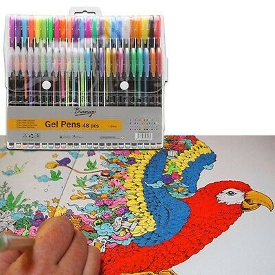 48pcs Color Gel Pen Set Adult Coloring Book Ink Pens Drawing Painting Craft Art