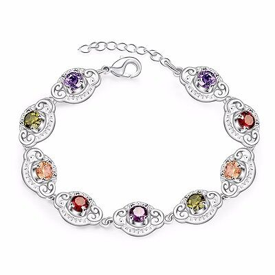 Stunning 925 Sterling Silver Filled Lady's Rainbow Crystal Tennis Bracelet Chain