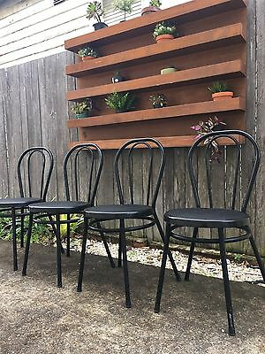 Set 4 Modern Black Bentwood Style Metal Dining Kitchen Cafe Chairs