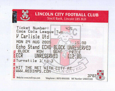 2005 Lincoln City League 2 ticket SIGNED BY KEITH ALEXANDER
