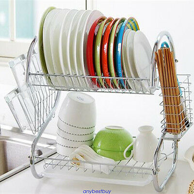 Stainless Steel 2 Tier Dish Rack Drying Cutlery Drainer Drain Tray Silver
