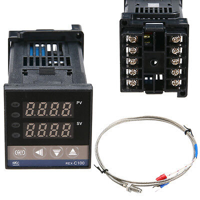 Dual Digital F/C PID Temperature Control Controller + K Thermocouple Thermostat