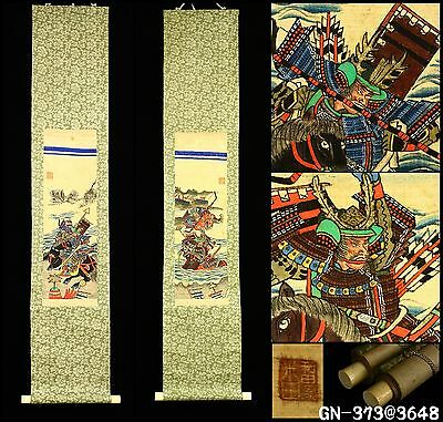 """Ukiyo-e Samurai Battle"" Twin Hanging Scroll -Japan- Antique Meiji Period"