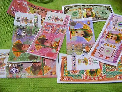 Set of 8 different Chinese Hell Banknotes ..very colorful Temple Money.