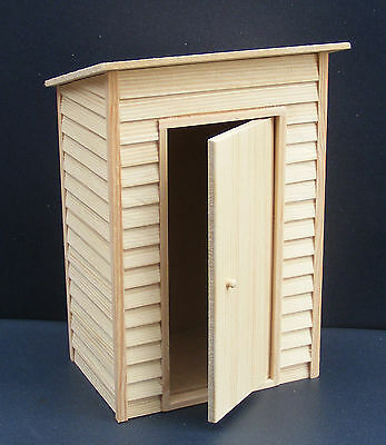 1:12 Scale Empty Natural Finish Garden Shed Dolls House Miniature Accessory Med