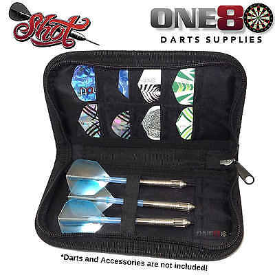 Shot Darts, Ace Wallet Darts Case, Dart Wallet, Darts Accessories, Black, Zipper