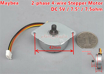 DC 5V NMB Micro 35mm Round Thin 2-phase 4-wire Stepper Motor+Gear 7.5°/Step