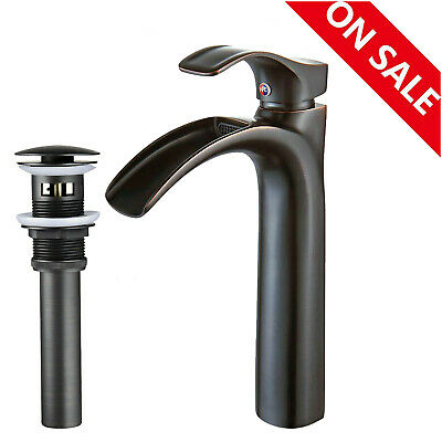 Water Pump Bathroom Basin Faucet Waterfall Spout Vessel Sink Mixer Tap Drain NEW