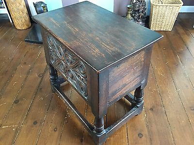 Antique Oak Joynt Stool / Bible Box