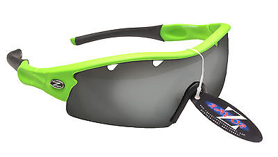RayZor Neon Green Uv400 Vented Smoked Mirrored Archery Wrap Sunglasses RRP£49