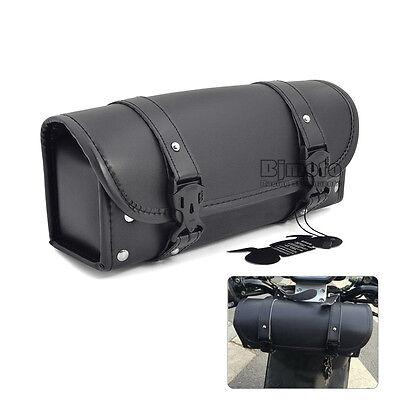 Motorcycle Saddlebag Motorbike Tool Roll Bags Storage Pouch For Harley Black