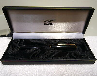 AUTHENTIC MONTBLANC CLASSIC BLACK & GOLD FOUNTAIN PEN 585 14K *No Ink/Cartridge*
