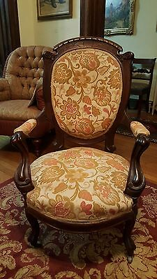Victorian Rococo Walnut Upholstered Arm Chair, Circa 1880