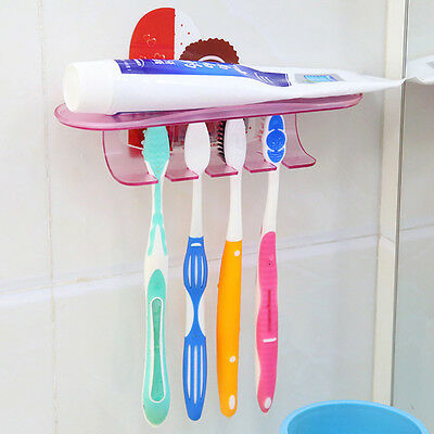 Convenient Suction Toothpaste Holder Toothbrush Holder Wall Mounted Bathroom