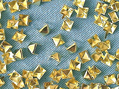 50 x Pyramid Clothing studs gold colour 8mm STUD 003