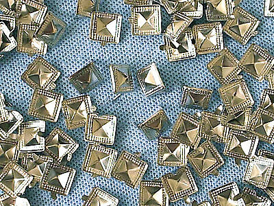 50 x Pyramid Clothing studs silver colour 10mm  STUD 005