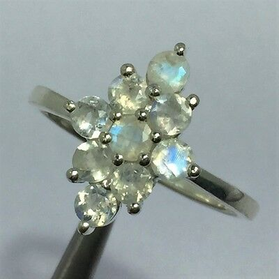 2.8 Gram Sterling Silver Ring Rainbow Moonstone Gemstone 3 mm Round Faceted