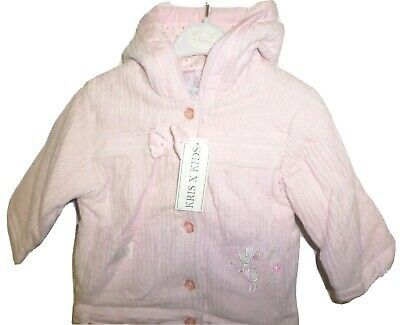 Baby Girls Jacket Coat Pink Cord Hooded New Kris X Kids 0-3 3-6 12-18 18-23 Mths