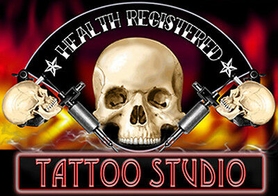 HEALTH REGISTERED LAMINATED TATTOO SIGN 210 × 297 millimeters or 8.27 × 11.69 in