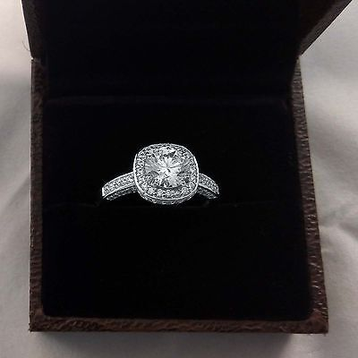 Round Cut 1.60 Ct Dimond Engagement Ring Real 14k Hallmarked White Gold Ring S 6
