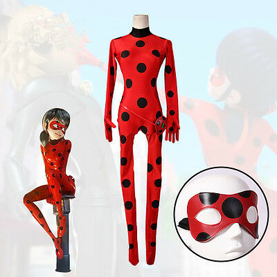 Girls Miraculous Ladybug Marinette Dupain Cheng Cosplay Costume Jumpsuit Outfit