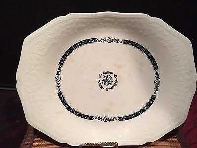 """Asian Porcelain White Oval Platter With Flowers Design Marked 11 3/4""""x9 3/4"""""""