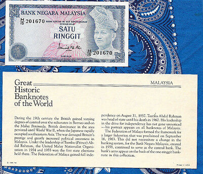 Great Historic Banknotes Malaysia 1976 1 Ringgit P13a UNC Birthday H/15 201670