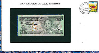 Banknotes of All Nations Ethiopia 1976 1 Birr P30b UNC Birthday note 1973