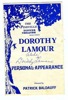 Dorothy Lamour signed Program Pineville Dinner Theatre Personal Appearance