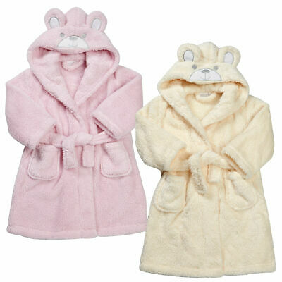 Kids Toddlers Girls Snuggle Bunny Hooded Fleece Dressing Gown Robe Ages 2-6 NEW