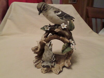 Home Interiors Masterpiece Porcelain Figure Mockingbird On Log 1979