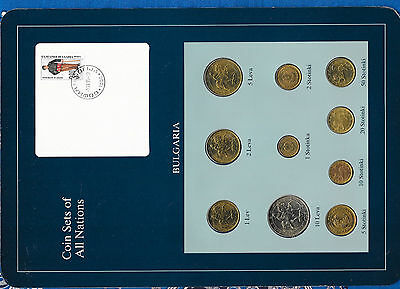 Coin Sets of All Nations Bulgaria w/card UNC 1989-1992 1,2,5,10 Leva 1992 Scarce